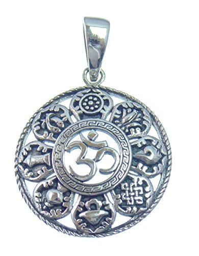 OM, Silber Anhänger, Der heilige Laut der beginn der Schöpfung mit den 8 Glückssymbolen des Buddhismus, aus 925 Sterling Silber,Versand innerhalb 24 Stunden !!!