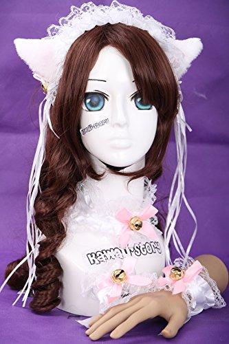 lita Maid Katzen Ohren Cat Ear Haarband Halsband Armband Set Cosplay (Weiße Katze Kostüm Ohren)