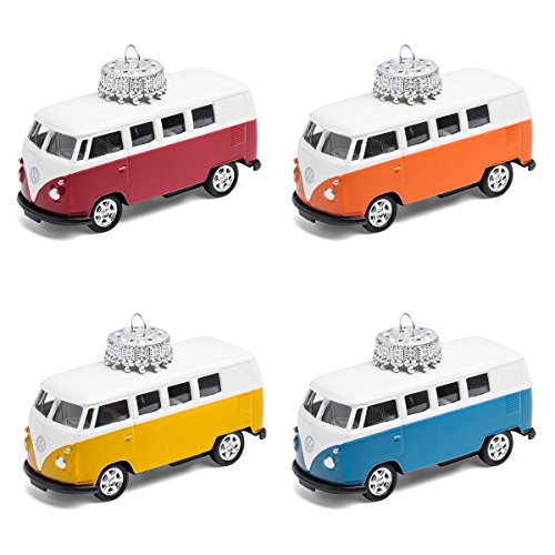 corpus delicti :: Christbaumschmuck - die rollende Alternative zur Weihnachtskugel - VW Bus T1 Bulli - 4er Set gemischt (blau, gelb, orange, rot)