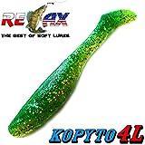 """Relax Kopyto 4L 4"""" Classic Gummifisch 11cm Chartreuse Glitter Grün Glitter 5 Stück im Set!"""
