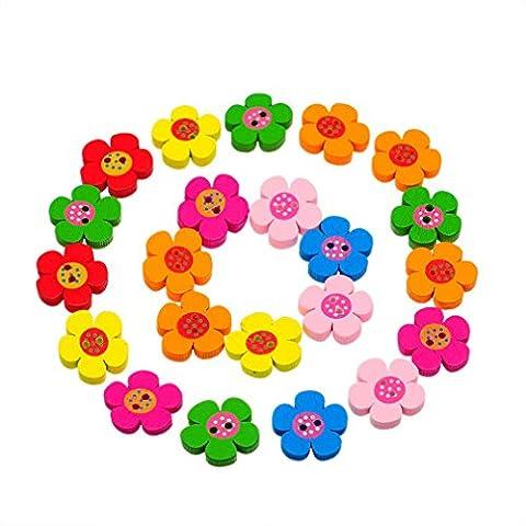 Godagoda Mixte Forme de Fleur 2 Trous Boutons en Bois