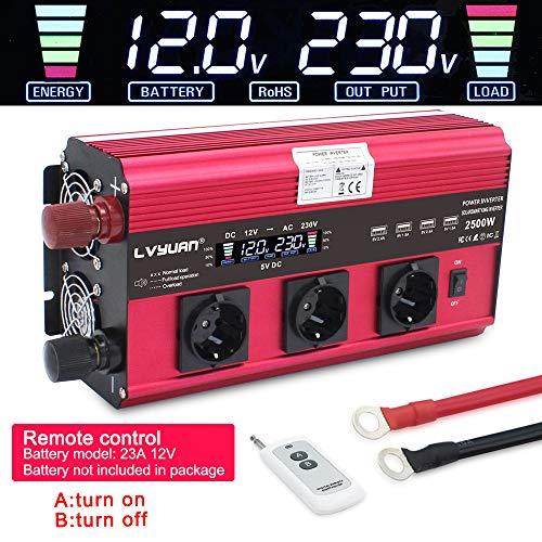 Spannungswandler 12V 230V 2500W / 5000W Wechselrichter mit 3 Steckdose und 4 USB LCD Spannungsanzeige 4 Umluftventilatoren (mit drahtloser Fernbedienung)