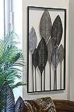 Wanddeko Palmblätter Handarbeit Metall 95x52cm grau gold Wandskulptur Wandhänger