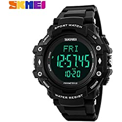 Multifunction Climbing Dive LCD men's Wristwatch digital Sport Watches 50M Waterproof Men Digital Watches(Black)