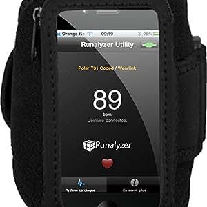 Runalyzer® [Noir, Taille S] - Petit brassard sport souple et léger avec fermeture éclair pour iPhone 3/4/iPod touch et Android