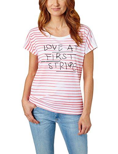Pioneer Damen T-Shirt 1374 3082, Gestreift, Gr. 40 (Herstellergröße: L), Rot (red 9201)