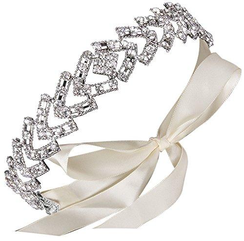 ArtiDeco Braut Haarband Silber Kristall Blinkender Braut Haarschmuck Handgefertigtes Vintage Braut Stirnband Braut Hochzeit Accessoires Party Stirnband (Stil 2)
