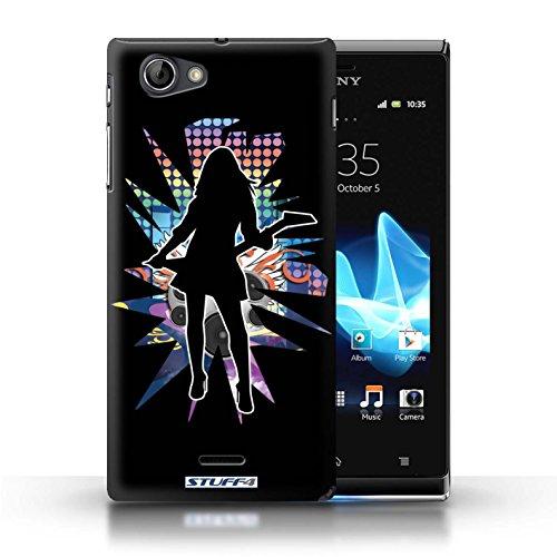 Kobalt® Imprimé Etui / Coque pour Sony Xperia J (ST26i) / Elvis Blanc conception / Série Rock Star Pose Rock Dame Noir