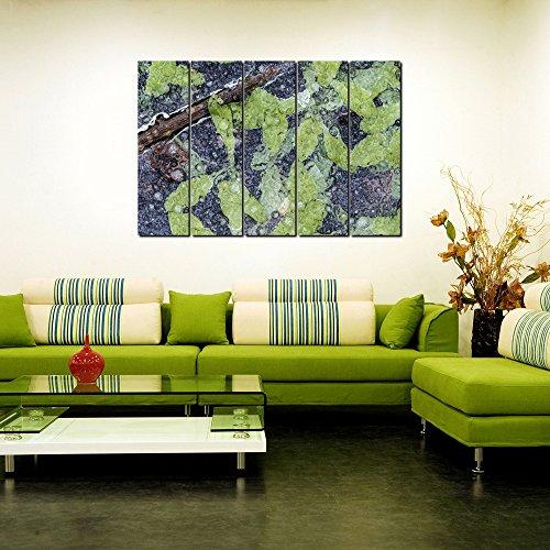 999store Digital gedruckt aus laminiertem Holz gerahmt mehreren Rahmen Gedruckt grünen Blätter Stiele indischen Kunst Platten wie Malerei-5Frames - Malerei-glas-platten