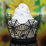 sunnymi 50PCS Halloween-Kuchen-Schale Wai/Perlmutt Kunst Papier Stil Drei/Cupcake Wrapper Liner Baking Cup Muffin/Kürbis-Spitze-Laser-Schnitt (Schwarz)