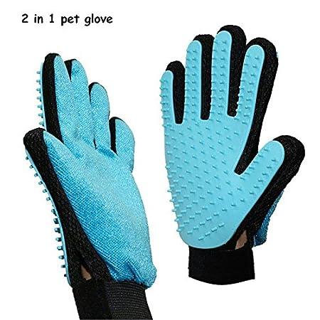 Haustier Grooming Handschuh,2 in 1 Pet Pflegen Handschuhe and Möbel Haustier Haarentferner Mitt Gentle Deshedding Bürste Massage Handschuh für Hund, Katze, Pferde