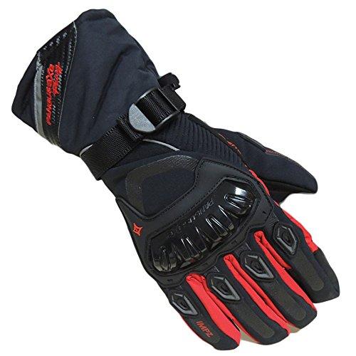 Motorradhandschuhe Winter Wasserdichte Winddichte Warm Touchscreen Handschuhe (M,Rot)