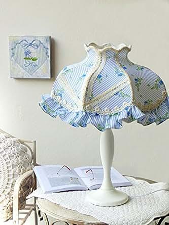 Romantique lampe lampe de table bois 52 cm-style cottage shabby chic rétro-couleur :  blanc/bleu