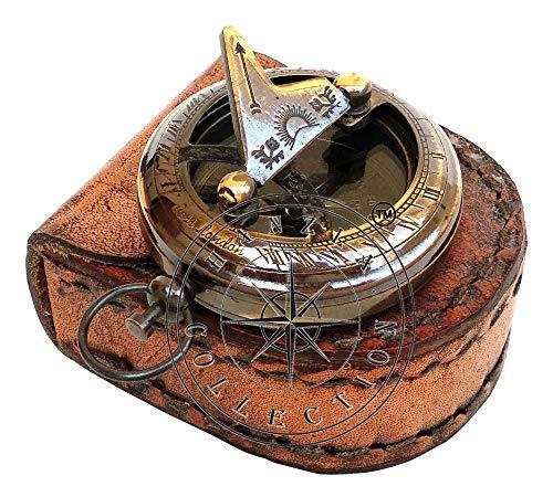 Antik-leder-finish (Hanzla Collection Kompass für Sonnenuhr, Messing, mit Lederhülle, Kompass, Steampunk-Sonuhr, Antik-Finish, handgefertigtes Geschenk)