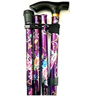 Purple Floral Lightweight Adjustable folding Walking Stick BY Bargain-house by Bargain House