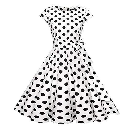 Dot Vintage Kleid Sommer Frauen Blumendruck Kurzarm Retro Robe Rockabilly Kleider Party J1 XXL (21, Kleidung Forever Für Frauen)