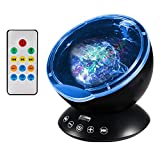 Ocean Wave Projector Night Light, Latest Upgraded Remote Control Sleep Light Lamp Built-in Music Player, 12 LED Beads and 7 Colorful Light, Auto Shutdown Function for Bathrooms, Living Rooms, Baby Rooms, Parties, Support TF Card