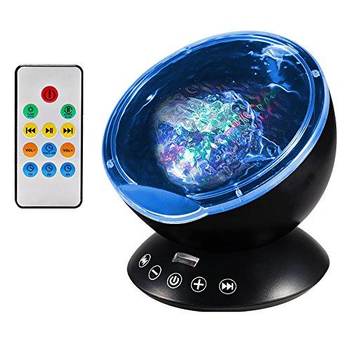 Luce Proiettore, Lampada Proiettore con Telecomando, Lampada Notturna con 12 LED, Mini Mp3 Altoparlante, 7 Modalità di Luce Colorata, Luce Oceano di Notte per Rilassarsi ed Addormentarsi (Nero)