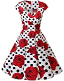 bbonlinedress 1950er Vintage Retro Cocktailkleid Rockabilly V-Ausschnitt Faltenrock White Black Rose S