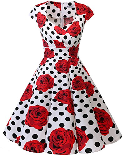 bbonlinedress 1950er Vintage Retro Cocktailkleid Rockabilly V-Ausschnitt Faltenrock White Black Rose XS -