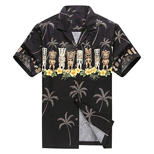 Hecho-en-Hawaii-Camisa-hawaiana-de-los-hombres-Camisa-hawaiana-L-Tiki-Cruz-Negro