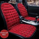 LCHENX-Cuscino Riscaldante per Seggiolino Auto 2 Pezzi,Universale Riscaldato per Cuscino Seggiolino Auto 12V per Guida Fredda E Invernale,Rosso