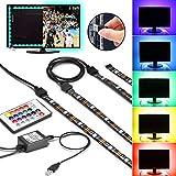 TV Hintergrundbeleuchtung USB Gr4tec LED Streifen Backlight Set RGB USB Strip Wasserdicht IP65 mit 24 Tasten Fernbedienung 4 x 50cm Dimmbare Lichterkette Lichtschlauch für 40 - 60 Zoll Bildschirm