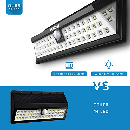 Mpow 54 LED Security Lights, Solar Powered Lights Outdoor Wall Lamp Waterproof Solar Lights with 120 Degree Wide Angle Motion Sensor Solar for Garden, Patio, Walkway Lighting [Ultra Bright]