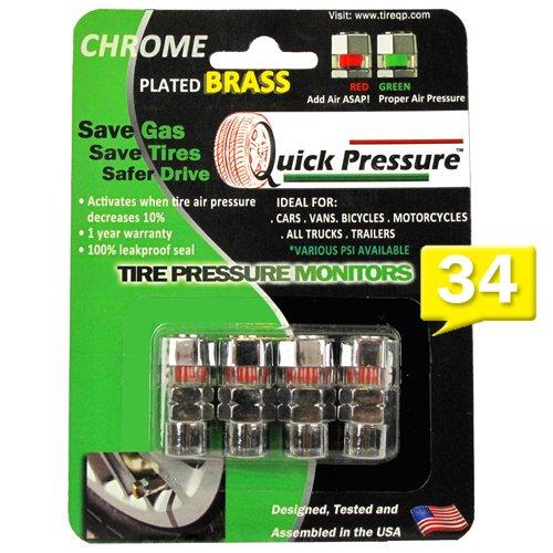 Quick Pressure Schnelle Druck qp-000034Messing verchromt 34PSI Reifendruck Überwachung Ventil Gap, (4Stück) (Low Pressure Air Pressure Gauge)