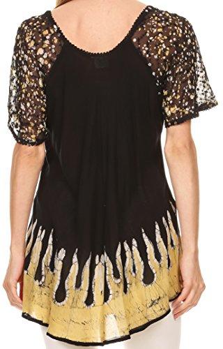 Sakkas Cora – camicetta/top larga a stampa batik con maniche e ricami Nero giallo