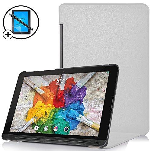 Forefront Cases® LG G Pad X II 10.1 Hülle Schutzhülle Tasche Case Cover Stand - Ultra Dünn & Leicht mit R&um-Geräteschutz inkl. Eingabestift & Bildschirmschutz (WEIß)