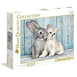 Clementoni - Puzzle de 500 piezas, High Quality, diseño Gato & Conejo (350049)