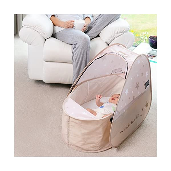 Koo-di 80 x 50 x 58 cm Sun and Sleep Pop Up Travel Bassinette  A comfortable bassinette ideal for use at home and on holidays or weekends away A polycotton travel bassinette Ideal up to 6 months or until baby can sit unaided 5