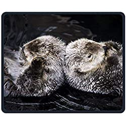 Cute Back to Back Otter Office Rectangle Non-Slip Rubber Mouse Pad Comfortable Gaming Mouse Pad for Laptop Displays Tablet Keyboard