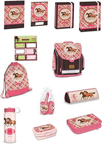 15 pezzi. set per scuola, motivo: cavalli - cartella + bottiglia + porta pranzo + astuccio + portapenne + portafoglio + sacco con laccetti