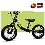 YSH Sport Balance Bike Mit Schutzausrüstung, Kinder Verstellbarer Lenker, Sitzhöhe Und Standfuß, 2-6 Jahre, 80-120 cm,Green