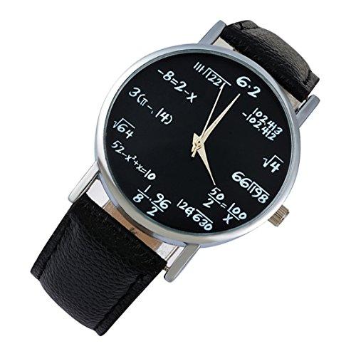 DUSENG Unisex schwarz mit mathematischem Ziffernblatt und schwarzem Lederarmband Analog Handgelenk Uhre
