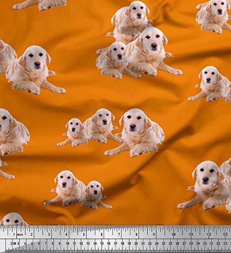 Soimoi Orange Poly Krepp Stoff Golden Retriever Hund Stoff Meterware 52 Zoll breit -