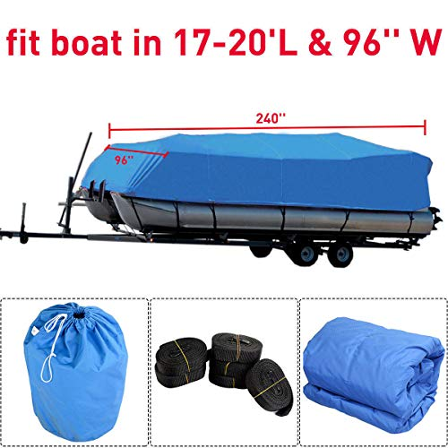 wasserdichte 600D Oxford Boat Yacht Cover, 17-20ft, Hochleistungs-Schnee-Beweis-Anti-UV-Runabout-Bootsabdeckung, Größengleichbootsabdeckung, Allwetterschutz im Freien -
