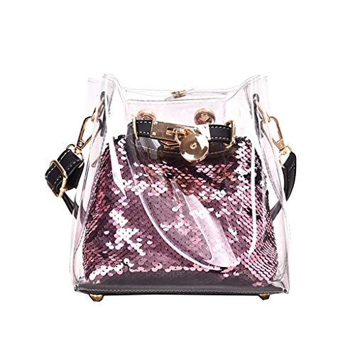 MA87 Damen Umhängetasche Transparente Umhängetasche Pailletten Joker Jelly Schultertasche (Lila) (Lila Fossil Handtaschen)