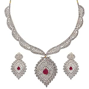 Swasti Jewels American Diamond CZ Colourful Traditional Jewellery Set Necklace Earrings for Women