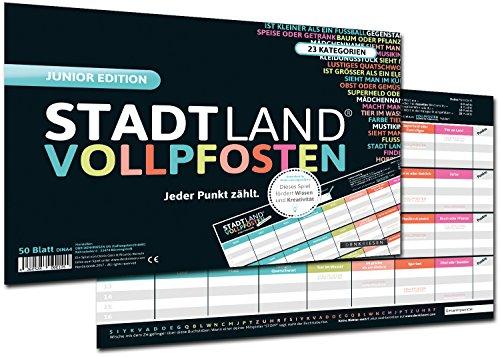 DENKRIESEN Stadt Land Vollpfosten - Junior Edition, Stadt-Land-Fluss neu aufgelegt für Kinder und Jugendliche (Spielblock im Din A4-Format) - Kinder-blöcke