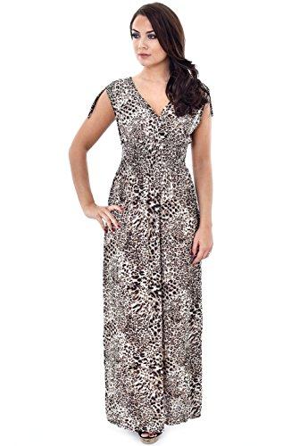 Damen Maxi-Kleid, Tiermuster, Tiger, Leopard, mit verstellbarem Band Mehrfarbig - Beige