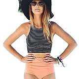 TWIFER Damen Hohe Taille Badeanzug 2 Stück Streifen Bikini Set Spa Tankin