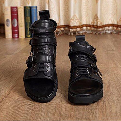 Sommermänner Sandalen,Leder,britischer Trend,hohe Männer,dicke Sohlen Sandalen US8.5-9/EU41/UK7.5-8/CN42