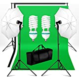 BPS Support Kit de Fond Photo Studio 2 Parapluies d'Eclairage avec 2 Monture Universelle total 1250W E27 5500K Ampoules et COTON 2.8x1.8m Kit Fond (Noir blanc vert) Photo Support System de Fond wt 1xSac de Transport pour Studio Photo