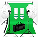 BPS Support Kit de Fond Photo Studio 2 Parapluies d'Eclairage avec 2 Monture Universelle total 1250W E27 5500K Ampoules et COTON 2.8x1.8m Kit Fond (Noir blanc vert) Photo Support System de Fond wt 1xSac de Transport pour Studio Photo