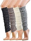 krautwear® Damen Mädchen 4 Paar Beinwärmer Stulpen Legwarmers Grobstrickstulpen mit Alpakawolle Alpaka Flauschig 30cm 80er (4 Farben)