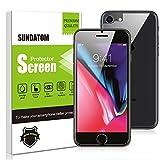 Sundatom - Lot de 2 films de protection d'écran (avant et arrière) en verre trempé pour iPhone 7/8 - anti-rayures - installation facile, sans bulles d'air