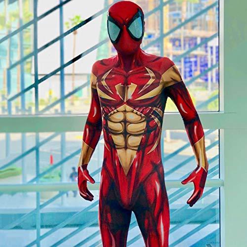 ASJUNQ Spider-Man Kostüm Gold Siamese Tights Kids Adult Cosplay Movie Zubehör,Red-XL (Rot Und Gold Spider Man Kostüm)